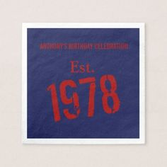 40th Birthday Year 1978 Custom Paper Napkin - paper gifts presents gift idea customize
