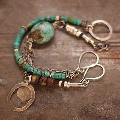set    handmade  bracelets  turquoise   sterling silver Baltic amber by ewalompe on Etsy https://www.etsy.com/listing/197831893/set-handmade-bracelets-turquoise