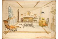 Illustration of design by New York decorator David Barrett - Depicts living room with zebra carpet and trompe l'oeil mural: Signed Ted Bosak, circa 1960.