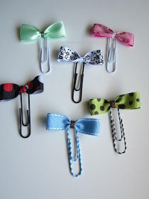 Diy paper clips 65 Ideas for 2019 Paper Clips Diy, Paper Clip Art, Diy Paper, Paper Crafts, Paperclip Crafts, Paperclip Bookmarks, Handmade Bookmarks, Ribbon Crafts, Ribbon Bows