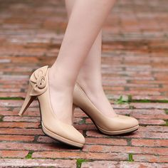 New Fashion Stiletto Flower Classic Women High Heel Sexy Pumps Shoes Vogue Lady Apricot