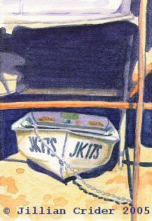 "ACEO-A091 ""Stored Dinghy"" boat shed - original watercolor 2.5x3.5"" Jillian Crider."