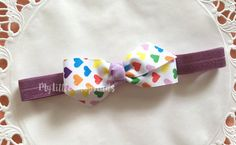 Rainbow Hearts ribbon  Baby Headband by MylittleshopFinds on Etsy