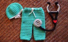 Adorable Cute Baby Doctor Nurse Crochet Newborn by MagooandBaloo, $52.00