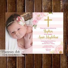 Pink and Gold Baptism Invitation Dedication Invite by MommiesInk