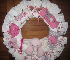 Girl Elephant Diaper Wreath - Heartstrings Creations