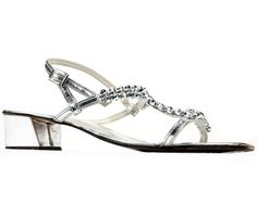 6e0ef482d034 US size 7.5 Party Silver Shoes 1970s Metallic Shiny Vintage Low Heel  Embellished Ladies Party Sandal