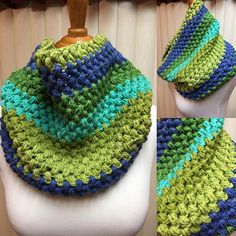 Crochet Cowl, Puff Stitch Cowl, Blue and Green Cowl, Striped Cowl, Multi Color Cowl, Gifts for Her, Circle Scarf, Crocheted Cowl by CozyNCuteCrochet on Etsy