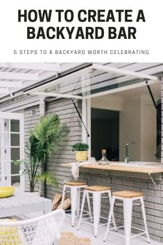 Backyard Bars are quickly taking off as the newest (and coolest) trend in outdoor living. How to create a Backyard Bar in 5 easy steps. Garden Room, Outdoor Decor, House, Design Details, Timber Cabin, Backyard Bar, Home Decor, Bar Design, Kitchen Design