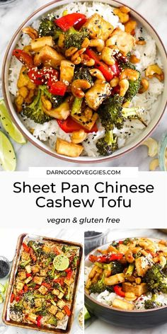 Sheet Pan Chinese Cashew Tofu is a quick and easy healthy weeknight dinner! This high protein, oil free, vegan and gluten free recipe can be made in 2 steps and 30 minutes! dinner recipes for family Sheet Pan Chinese Cashew Tofu Healthy Weeknight Dinners, Vegan Dinners, Healthy Dinner Recipes, Vegetarian Recipes, Cooking Recipes, Delicious Recipes, Healthy Vegan Recipes, Gf Recipes, Drink Recipes