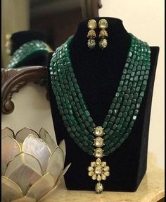 Green Mala Necklace/ Long Indian Necklace/ Indian Jewelry/ Green beads Necklace/ Heavy beads heavy Necklace/ Pakistani Jewelry/ Indian Green Mala Necklace/ Long Indian Necklace/ Indian Jewelry/ Green beads Necklace/ Heavy beads heavy N Bead Jewellery, Gold Jewellery Design, Beaded Jewelry, Beaded Necklace, Emerald Necklace, Stone Necklace, Diamond Earrings, Necklaces, Jewelry Tags