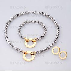 collar y pulsera y aretes sencilla de plateado en acero inoxidable-SSNEG504063
