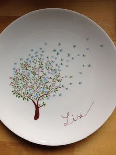 Hand painted tree in spring, dishes plates in blue on white porcelain Hand Painted Plates, Hand Painted Ceramics, Porcelain Ceramics, Pottery Plates, Ceramic Plates, Ceramic Pottery, Sharpie Plates, Painted Pottery, Slab Pottery