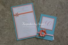 Teal and peach wedding menus and table numbers. For more info please visit my Facebook page: Keepsakes by Ingrid
