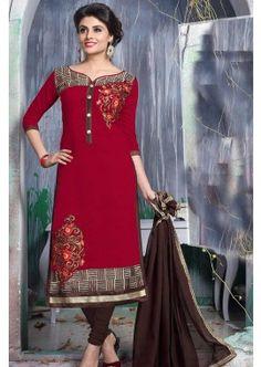 couleur marron churidar Chanderi costume, - 73,00 €, #Salwarkameezfemme #Robepakistanaise #Robebollywood #Shopkund