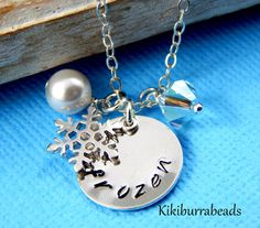 Frozen Snowflake Necklace Sterling Silver Charm by Kikiburrabeads#giftidea#gifts#charmnecklace#younggirlgift