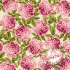 "Botanical 992-1 by Makower UK: Botanical is a beautiful floral collection by Makower UK.  100% cotton, 43""/44"" wide.  This fabric features pink roses and leaves packed on a cream background."