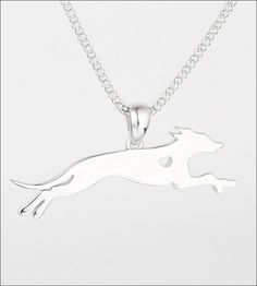 Whippet with Heart Sterling Silver Necklace and Charm