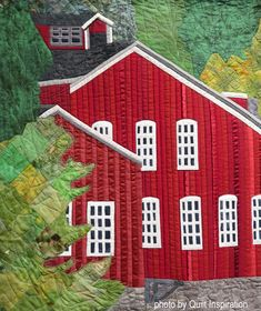 Mill House by R. Photo by Quilt Inspiration: International Quilt Exhibition Brigham City (Utah) House Quilt Block, Block Quilt, House Quilts, Barn Quilts, Brigham City Utah, Landscape Quilts, Quilt Art, Quilted Wall Hangings, Mini Quilts