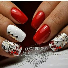Cute and adorable snow filled winter nail art design. The nails are painted in base color with tree branches and leaves. Snow Nails, Xmas Nails, Holiday Nails, Winter Nails, Spring Nails, Red Nails, White Nail Designs, Beautiful Nail Designs, Beautiful Nail Art