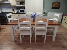 Furniture, White Dining Table, Oak Chair, Country Farmhouse Table, Dining, Dining Table, Table, Farmhouse Dining Table, Farmhouse Table