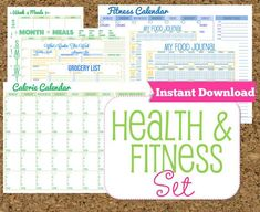 INSTANT DOWNLOAD Fitness and Health Printables Set-Workout Planner-8 Documents via Etsy