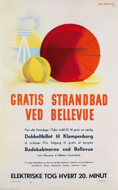 Vintage Danish poster (1939) by Aage Rasmussen. (Free sea baths at Bellevue. Electric train every 20 minutes)