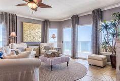 Walls of windows offer stunning views of the Gulf at Admirals Quarters 1401 in Orange Beach Beach Vacation Rentals, Beach Vacations, Gulf Coast Beaches, Orange Beach Alabama, Window Wall, Stunning View, One Bedroom, Condo, Luxury