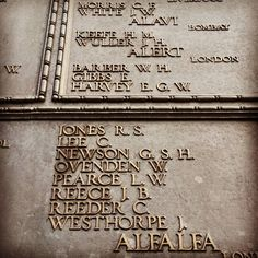 """""""1914 - 1918 To the glory of god and the honor of the twelve thousand of the Merchant Navy and Fishing Fleet who have no grave but the sea"""" E Gibbs My Great Great Grandfather found on the memorial who in 1917 went down with his ship HMS Alert. Rest in Peace.  #Nogravebutthesea #warmemorial #Towerhill #commonwealthwargravescommission #trinityhouse #Lostatsea #HMSAlert #Restinpeace #theirnamelivethforevermore by bravo_two_six"""