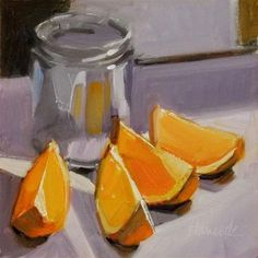 """Orange Slices Glass Jar on Lavender"" - Original Fine Art for Sale - © Gretchen Hancock"