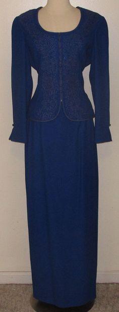 Nahdre'e for VICTOR COSTA Elegant & Formal 2pc ROYAL BLUE Skirt Suit - Sz. 12 #SkirtSuit