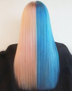22 Ways to Style Pretty Two-Tone Hairstyles: #19. Picture of Two Toned Hairstyle for Long Hair – Bubblegum Blue and Pink Straight Style