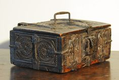 "German 16th century geometric  chip carved oak missal box. Floral iron strapwork.  4"" h x 9 /4"" w x 6"" deep/"
