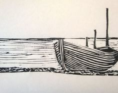 Lino Print Hastings Boat by BesideTheSeaDesigns on Etsy Linocut Prints, Art Prints, Block Prints, Gravure Photo, Lino Art, Linoprint, Art Plastique, Woodblock Print, Printmaking