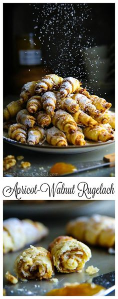 - This is perhaps the easiest rugelach recipe you've ever seen! These apricot wal… This is perhaps the easiest rugelach recipe you've ever seen! These apricot walnut rugelach cookies are filled with apricot jam and chopped walnuts. Rugelach Cookies, Jam Cookies, Filled Cookies, Apricot Recipes, Sweet Recipes, Jewish Cookies, Ukrainian Cookies Recipe, Cookie Recipes, Biscuits