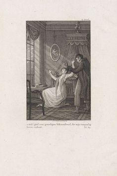 Reinier Vinkeles | Paar schrikt van een bliksemschicht, Reinier Vinkeles, 1751 - 1816 | In een slaapkamer schrikt een paar van een bliksemschicht, bij nacht.