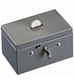 SteelMaster Small Cash Box with Coin Slot, Disc Lock, Gray Perfect fit for desk drawers. Features slot on top for inserting bills, coins or stamps. Money Safe Box, Money Bank, Steel Companies, Washing Windows, Cash Box, Balance Board, Pull Toy, Desk With Drawers, Toddler Toys