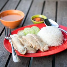 A classic Singaporean hawker dish of delicately poached chicken with fragrant rice.