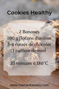 Recette de Cookies Healthy à la banane et aux flocons davoine Cookies Healthy, Healthy Cookie Recipes, Oatmeal Cookie Recipes, Banana Recipes, Gourmet Recipes, Healthy Snacks, Dessert Recipes, Oatmeal Cookies, Easy Recipes
