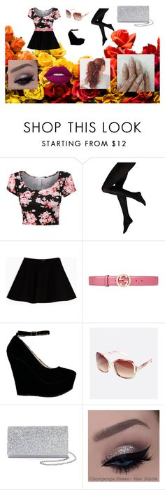 """""""Floral Girly Girl"""" by katrinarosas on Polyvore featuring Max&Co., Gucci, Avenue, Gunne Sax By Jessica McClintock and Lime Crime"""