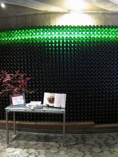Wine bottle wall