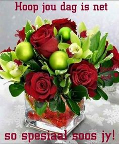 Orchids and Roses. A striking combination of red roses and green Cymbidium orchids set atop red gemstones in a clear cube vase. This arrangement is sure to delight the senses. Christmas Flower Arrangements, Christmas Flowers, All Things Christmas, Floral Arrangements, Christmas Holidays, Christmas Wreaths, Outdoor Christmas, Christmas Tablescapes, Christmas Centerpieces