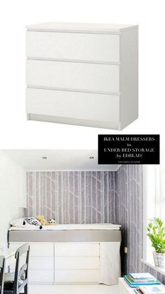 Bed on top of storage drawers (Buy mattress and IKEA drawers Can get Anthropologie pulls for drawers 10 Totally Ingenious, Ridiculously Stylish IKEA Hacks - Live Simply By AnnieLive Simply By Annie Murphy-bett Ikea, Ikea Malm Dresser, Ikea Drawers, Dressers, Diy Home Decor, Room Decor, Ikea Furniture, Bed Storage, Bedroom Storage