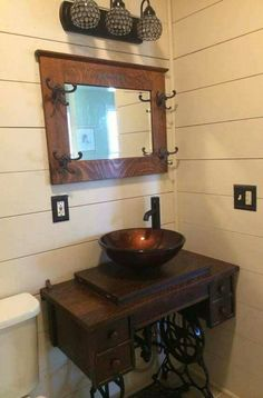 Best Images sewing table repurpose Concepts Ideas For Sewing Machine Table Repurposed Bathroom Sinks Vintage Bathroom Sinks, Bathroom Sink Vanity, Rustic Bathrooms, Redo Bathroom, Sewing Machine Tables, Vintage Sewing Machines, Repurposed Furniture, Home Furniture, Office Furniture