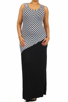 #salediem #fashion #summer  #dress  #blackandwhite #plus STRIPE SLEEVELESS MAXI DRESS.
