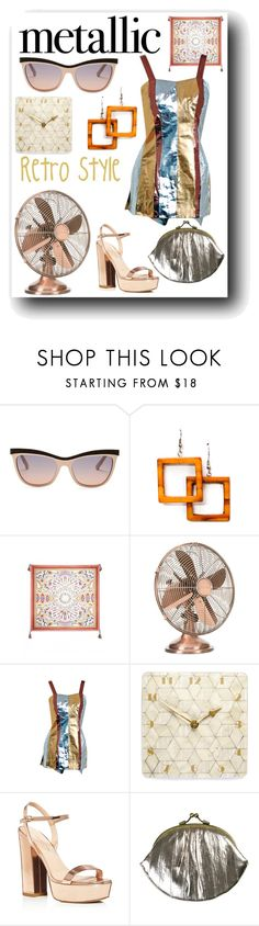 """""""Back In the Day Metallics"""" by christined1960 ❤ liked on Polyvore featuring Swarovski, Charles David, BeckSöndergaard and metallicswimwear"""