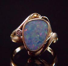 mosaic opal ring | ... Yellow Gold Mosaic Bezel Set Opal & Diamond Cocktail Ring size 7