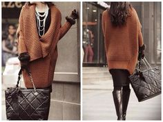 Laila Brown Oversized Turn Down Sweater