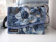 Одноклассники Denim Handbags, Denim Tote Bags, Denim Purse, Unique Purses, Handmade Purses, Mini Bases, Blue Jean Purses, Denim Crafts, Recycle Jeans