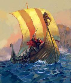 Vikings!! in their glorious longboat!